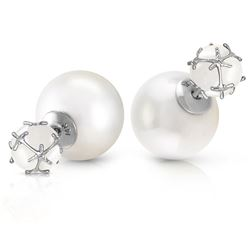 ALARRI 14K Solid White Gold Tribal Double Shell Pearls And Opals Stud Earrings