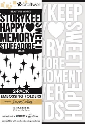 Teresa Collins 2-Pack A6 Folders, Beautiful Words & Stars
