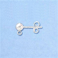 Sterling Silver Earring - Ball Post 4mm w/backing