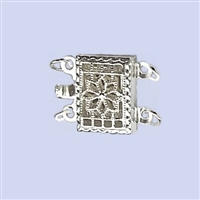 Sterling Silver Filigree - Rectangle Clasp - 2 row