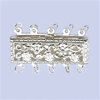 Sterling Silver Filigree - Large Rectangle Clasp - 5 row