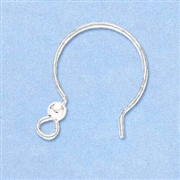 Sterling Silver Earwire - Round Shaped w/Ball