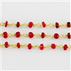 Vermeil Chain w/Dyed Ruby stone 3-4mm
