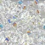 Swarovski 3mm 5301/5328 Bicone - Clear Crystal AB Color