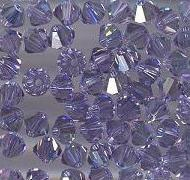 Swarovski 4mm 5301/5328 Bicone - Indian Sapphire AB Color