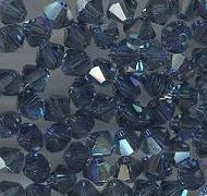 Swarovski 4mm 5301/5328 Bicone - Montana Blue AB Color