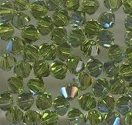 Swarovski 4mm 5301/5328 Bicone - Olivine AB Color