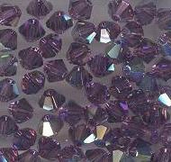 Swarovski 4mm 5301/5328 Bicone - Amethyst AB Color
