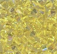 Swarovski 4mm 5301/5328 Bicone - Citrine AB Color