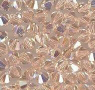 Swarovski 4mm 5301/5328 Bicone - Lt. Peach AB Color