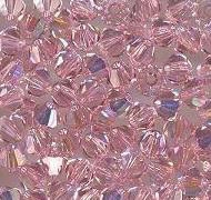 Swarovski 4mm 5301/5328 Bicone - Lt. Rose AB Color
