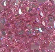 Swarovski 4mm 5301/5328 Bicone - Rose AB Color