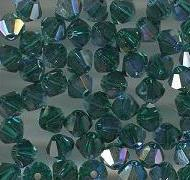 Swarovski 4mm 5301/5328 Bicone - Emerald AB Color
