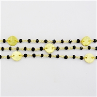 Vermeil Beaded Chain w/3-4mm Black SPinel stones and Silver Disk connectors