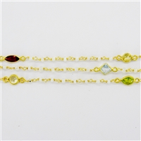 Vermeil Beaded Chain w/3-4mm MoonStone stones and Silver Bezelled Gemstone connectors