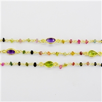 Vermeil  Silver Beaded Chain w/3-4mm Tourmaline stones and Silver Bezelled Gemstone connectors in