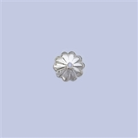 Sterling Silver Beads Cap - Plain Flower 6mm