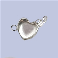 Sterling Silver Flat Heart Clasp - 10mm