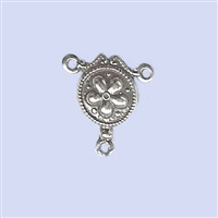 Sterling Silver Rosary Medal - Flower design