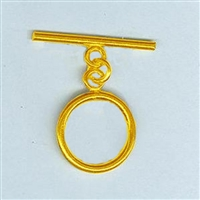 STG-19 Toggle Ring 17mm. Gold Plate over Sterling Silver