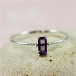 Silver Rectangle Amethyst Ring
