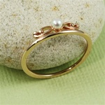 Pink Gold Floral Pearl Ring