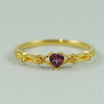 Gold Floral Heart Rhodolite Ring