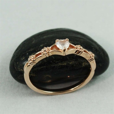 Pink Gold Floral Heart Moonstone ring