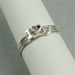 Silver I Love You Garnet Stackable Ring