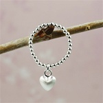 Silver Heart Beaded Band Ring