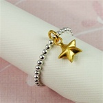 Gold Star Beaded Band Ring
