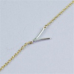Silver Initial V Necklace