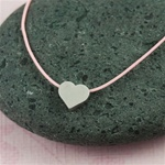Pink Silk Cord Silver Heart Necklace