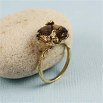 Handmade Gold Oval Smoky Quartz Ring