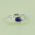 Handmade Sterling Silver Rough Blue Sapphire Ring