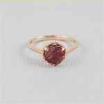 Handmade Rose Gold Raw Garnet Dish Ring