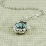 Handmade Sterling Silver Raw Gemstone Bird Nest Necklace