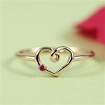 Handmade Pink Gold Ruby Heart Ring