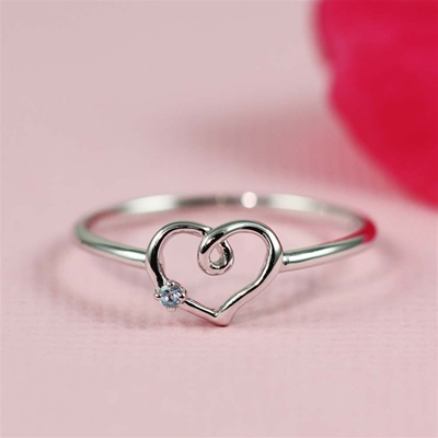 Handmade Silver Blue Topaz Heart Ring