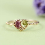 Handmade Pink Gold Raw Pink Tourmaline & Peridot Heart Ring