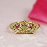 Handmade Gold Raw Peridot & Ruby Crown Ring