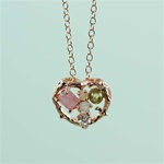 Handmade Pink Gold Rough Gemstone Heart Necklace