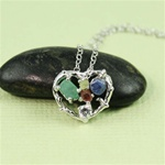 Handmade Sterling Silver Rough Gemstone Heart Necklace
