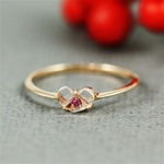 Handmade Pink Gold White Quartz & Ruby Heart Ring