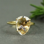 Handmade Gold White Quartz & White CZ Oval Ring