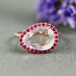 Handmade Pink Gold Rose Quartz & Ruby Oval Ring