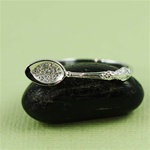 Handmade Sterling Silver CZ Spoon Ring