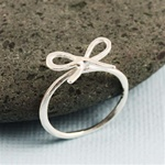 Hammered Silver Bow Ring
