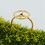 Hammered Gold Red Stone Peace Sign Ring