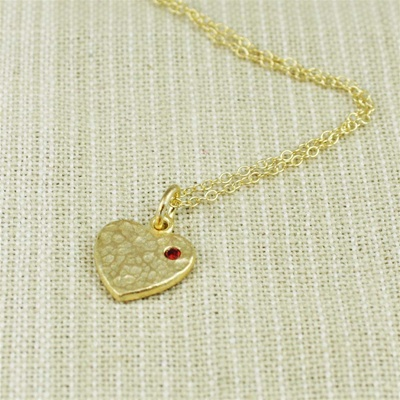 Hammered Gold Red Stone Heart Necklace